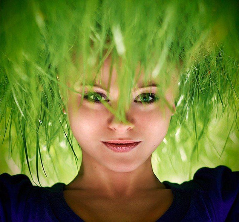 grass hair nature green beauty headstand