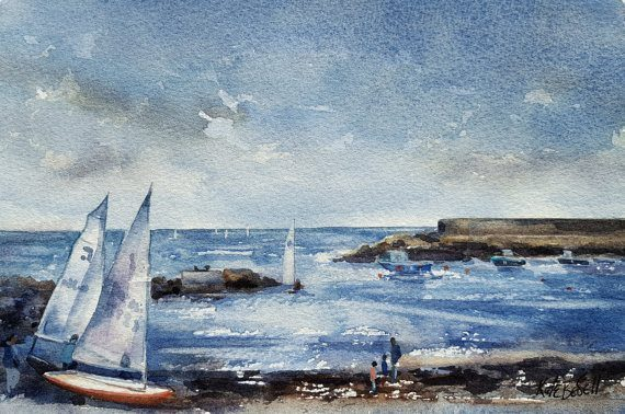 Harbour Watercolour by Kate Bedell
