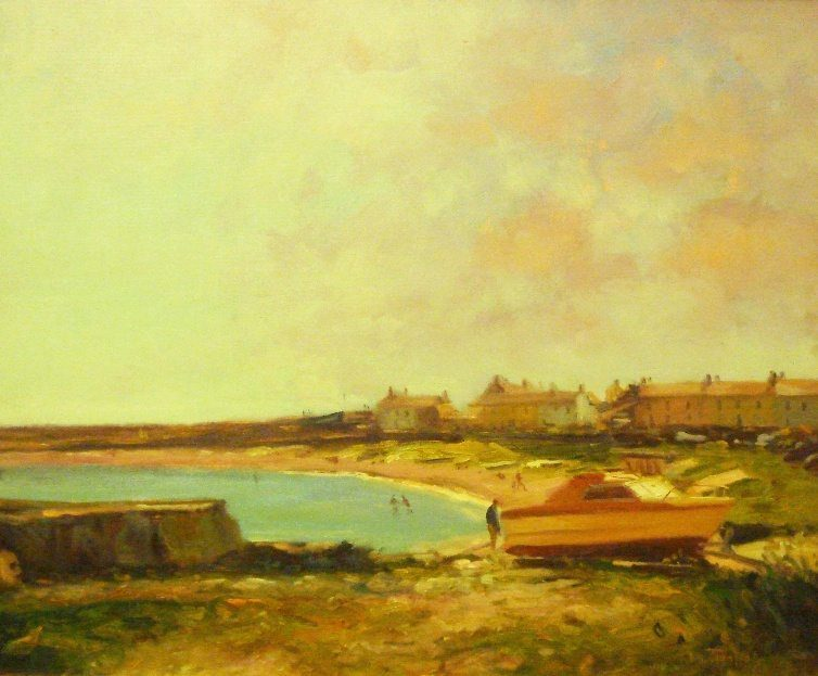 Greystones Harbour Oil on Boardy by Norman Teeling