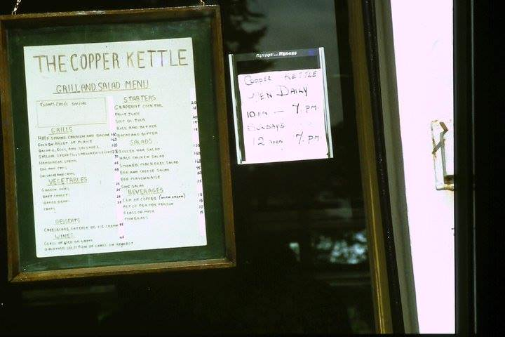 Copper Kettle Menu 1977 Pic Paula McGuinness