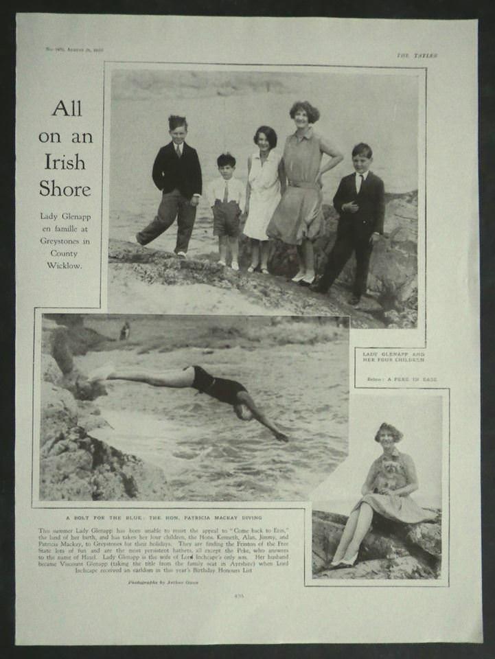 Lady Glenapp on holiday in Greystones The Tatler Aug 1929